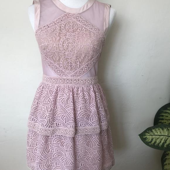 BCBGMaxAzria Dresses & Skirts - BCBG Lavender Lace Cut out Party Dress